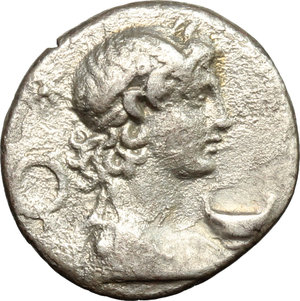 M. Pupius Piso. AR Denarius, 61 BC.Obv. Bust of Mercury right; wearing winged diadem; behind, wreath.Rev. Knife and patera within laurel wreath.Cr. 418/2.AR.g. 3.83 mm. 18.00EF.