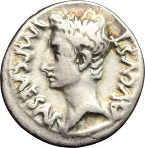 Roman Empire.Augustus (27 BC - 14 AD). AR Denarius, Emerita mint, 25-23 BC.Obv. Head of Augustus left, bare.Rev. Trophy erected on mount of shields.RIC (second edition) 4B.AR.g. 3.80 mm. 19.00VF.