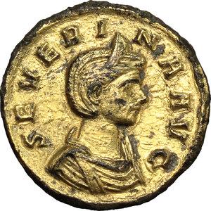Roman Empire.Severina, wife of Aurelian (270-275 AD). AR Denarius, 270-275 AD.Obv. Bust of Severina right, diademed, draped.Rev. Vesta standing left; holding small figure and scepre.RIC 6.AR.g. 2.54 mm. 19.00Gilded.VF.