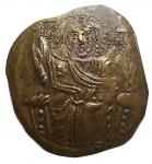 Bizantini - Giovanni III Ducas (1222-1254). Hyperpyron AV (degradato). Impero di Nicea. Zecca di Magnesia 1232-1254. d/ Cristo Pantocratore nimbato, in trono, seduto frontalmente r/ Giovanni III  in piedi di fronte, coronato dalla vergine Maria. g 2,95. mm 23 x 26. SPL. Patina