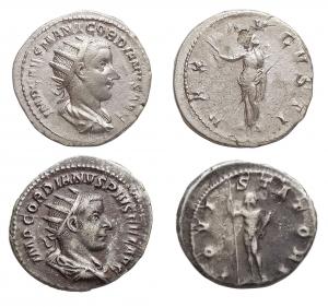 D/ Lotti - Impero Romano. Gordiano III il Pio. Insieme di 2 antoniniani in argento r/ Iovi Statori e Pax Avgvsti