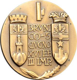 R/ Brunico.  Medaglia commemorativa agli alpini della 'Valpusteria' 5 Giugno 1938.     AE.   mm. 50.00 Inc. Affer.   SPL.