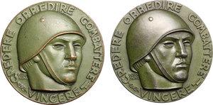 D/ Roma.  Lotto di due medaglie 1942 per la prima mostra degli artisti italiani in armi ( italiano e tedesco).     AE.   mm. 50.00 Inc. F. Giannone.   BB+-SPL.