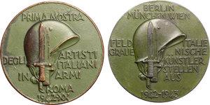 R/ Roma.  Lotto di due medaglie 1942 per la prima mostra degli artisti italiani in armi ( italiano e tedesco).     AE.   mm. 50.00 Inc. F. Giannone.   BB+-SPL.