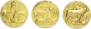 D/ Federazione Nazionale Fascista Commercianti Prodotti Zootecnici. 3 medaglie.     AE dorato.   mm. 50.00 Inc. B. Boari.   SPL.