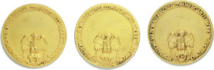 R/ Federazione Nazionale Fascista Commercianti Prodotti Zootecnici. 3 medaglie.     AE dorato.   mm. 50.00 Inc. B. Boari.   SPL.