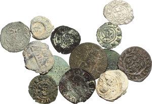 obverse:  Insieme di 10 monete di zecche italiane da classificare contenente anche tre sigilli plumbei.          Di particolare interesse per specialisti. Notato bolognino piccolo per Bologna e picciolo per Fano