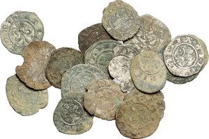 obverse: Firenze. Repubblica (sec.XIII-1532). Lotto di 18 monete, prevalentemente fiorini piccoli.          Di grande interesse per differenza di tipologia