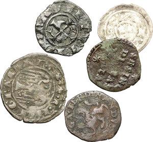 obverse: Guastalla. Ferrante III Gonzaga (1632-1678). Lotto di 5 monete: sue sesini per guastalla, doppio denaro per Messina, denaro per Messina e obolo per Mantona.    MIR 424. MI. g. 0.80