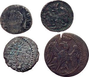 obverse: Modena.  Lotto di quattro monete: bolognino, quattrino e sesino (2).     AE.
