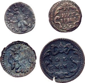 reverse: Modena.  Lotto di quattro monete: bolognino, quattrino e sesino (2).     AE.