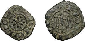 obverse: Messina o Palermo. Federico II (1194-1250). Lotto di 2 denari.    Sp. 90 e 133. MIR 86 (RR) e 99. AU.   mm. 13.00    BB.