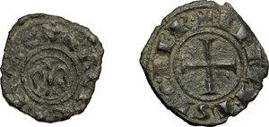 reverse: Messina o Palermo. Federico II (1194-1250). Lotto di 2 denari.    Sp. 90 e 133. MIR 86 (RR) e 99. AU.   mm. 13.00    BB.