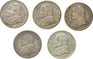 obverse: Roma. Pio IX (1846-1870). Lotto di 5 monete da 1 lira: 1866 A.XXI (2), 1867 A.XXI (3).    Pag. 569. AG.      BB/BB+.