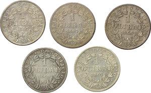 reverse: Roma. Pio IX (1846-1870). Lotto di 5 monete da 1 lira: 1866 A.XXI (2), 1867 A.XXI (3).    Pag. 569. AG.      BB/BB+.