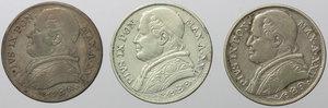 obverse: Roma. Pio IX (1846-1870). Lotto di 3 monete da 2 lire 1867 A.XXII.    Pag. 558. AG.      BB.