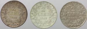 reverse: Roma. Pio IX (1846-1870). Lotto di 3 monete da 2 lire 1867 A.XXII.    Pag. 558. AG.      BB.