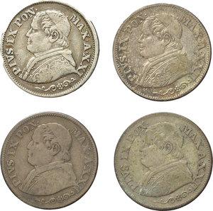 obverse: Roma. Pio IX (1846-1870). Lotto di 4 monete da 10 soldi: 1866 A.XXI, 1867 A.XXII (2), 1868 A.XXII.     AG.