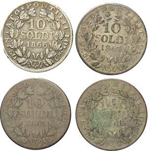reverse: Roma. Pio IX (1846-1870). Lotto di 4 monete da 10 soldi: 1866 A.XXI, 1867 A.XXII (2), 1868 A.XXII.     AG.