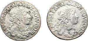 obverse: Tassarolo.  Lotto di due luigini 1666.     AG.      BB+.