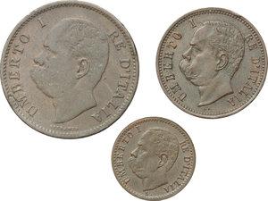obverse: Regno di Italia. Umberto I (1878-1900). Lotto di 3 monete: 5 centesimi 1895, 2 centesimi 1897, 1 centesimo 1895.    Pag. 617, 622, 625. Mont. 65, 70, 75. CU.     Buona conservazione