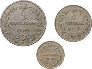 reverse: Regno di Italia. Umberto I (1878-1900). Lotto di 3 monete: 5 centesimi 1895, 2 centesimi 1897, 1 centesimo 1895.    Pag. 617, 622, 625. Mont. 65, 70, 75. CU.     Buona conservazione