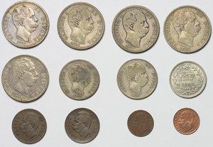 obverse: Regno di Italia. Umberto I (1878-1900). Lotto di 12 monete: 2 lire 1881 (3), 2 lire 1887 (2), 1 lira 1886, 1 lira 1887, 20 cent. 1894 (qFDC/FDC),  2 cent 1897, 2 cent. 1900, 1 cent. 1895, 1 cent. 1899 (FDC).     AE.