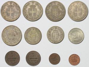 reverse: Regno di Italia. Umberto I (1878-1900). Lotto di 12 monete: 2 lire 1881 (3), 2 lire 1887 (2), 1 lira 1886, 1 lira 1887, 20 cent. 1894 (qFDC/FDC),  2 cent 1897, 2 cent. 1900, 1 cent. 1895, 1 cent. 1899 (FDC).     AE.