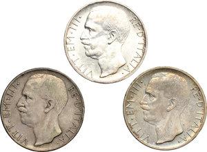 obverse: Vittorio Emanuele III (1900-1943). Lotto di 3 monete da 10 lire 1927.     AG.      BB+.