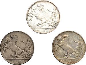 reverse: Vittorio Emanuele III (1900-1943). Lotto di 3 monete da 10 lire 1927.     AG.      BB+.