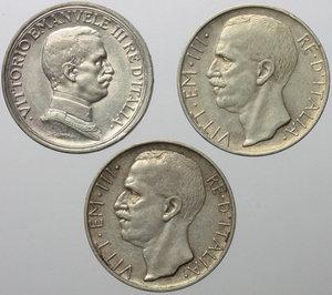 obverse: Vittorio Emanuele III (1900-1943). Lotto di 2 monete da 10 lire 1928 e 1929. In aggiunta 2 lire 1915.     AG.