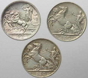 reverse: Vittorio Emanuele III (1900-1943). Lotto di 2 monete da 10 lire 1928 e 1929. In aggiunta 2 lire 1915.     AG.