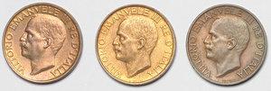 obverse: Regno di Italia. Vittorio Emanuele III (1900-1943). Lotto di 3 monete: 10 cent. 1921, 10 cent. 1922, 10 cent. 1926.    Pag. 230, 231, 235. AE.      FDC.