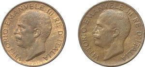 obverse: Regno di Italia. Vittorio Emanuele III (1900-1943). Lotto di 2 monete: 5 cent. 1919 e 1921.     AE.      qFDC.