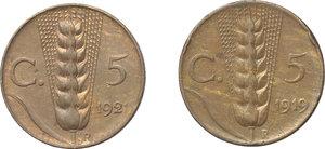 reverse: Regno di Italia. Vittorio Emanuele III (1900-1943). Lotto di 2 monete: 5 cent. 1919 e 1921.     AE.      qFDC.