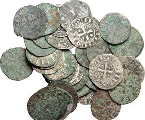 obverse: Francia. Thibaut II (1125-1152). Lotto di 41 denari.     MI.