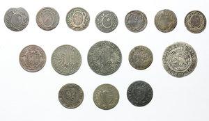 obverse: Svizzera.  Lotto di 15 monete cantonali comprendenti diverse zecche (Berna, Schwyz, Ginevra, Ticino).     MI, AE e AG.