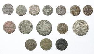 reverse: Svizzera.  Lotto di 15 monete cantonali comprendenti diverse zecche (Berna, Schwyz, Ginevra, Ticino).     MI, AE e AG.
