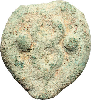 reverse: Dioscuri/Mercury series.  AE Cast Sextans, c. 280-276 BC. Obv. Scallop-shell; below, two pellets. Rev. Caduceus; in field, two pellets. Cr. 14/5. Vecchi ICC 30. HN Italy 272. AE. g. 46.70  mm. 38.50   Untouched earthen light green patina. VF.