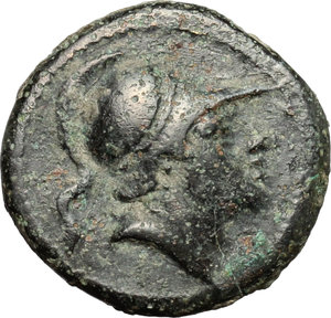 obverse: Anonymous.  AE Litra, c. 241-235 BC. Obv. Helmeted head of clean-shaven Mars right. Rev. Horse s head right; behind, sickle; beneath, ROMA. Cr. 25/3. AE. g. 3.24  mm. 17.00   Earthen dark green patina. VF/Good VF.