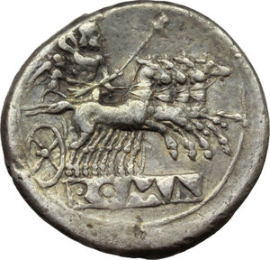 reverse:   AR Didrachm-Quadrigatus, 225-214 BC. Obv. Laureate Janiform head of Dioscuri. Rev. Jupiter holding sceptre and hurling thunderbolt in fast quadriga right driven by Victory; below, ROMA incuse on raised tablet. Cr. 28/3. AR. g. 6.54  mm. 23.00    good VF. Lightly toned.