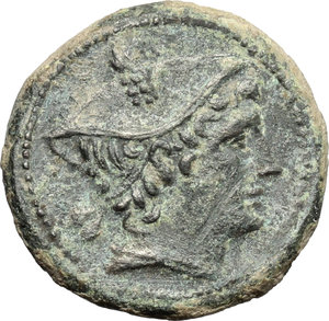 obverse: Semilibral series.  AE Semuncia, 217-215 BC. Obv. Head of Mercury right, wearing winged petasus. Rev. ROMA. Prow right. Cr. 38/7. AE. g. 5.55  mm. 21.00   A superb example. Attractive earthen dark green patina. Good VF.