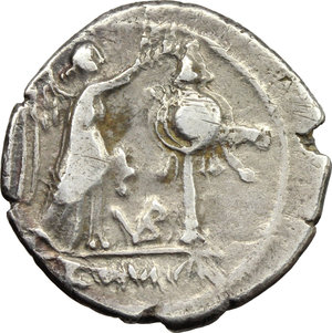 reverse: VB series.  AR Victoriatus, c. 211-208 BC. Obv. Laureate head of Jupiter right. Rev. Victory right crowning trophy; in lower field, VB ligate and in exergue, ROMA. Cr. 95/1a. AR. g. 2.53  mm. 17.00    good VF/VF.
