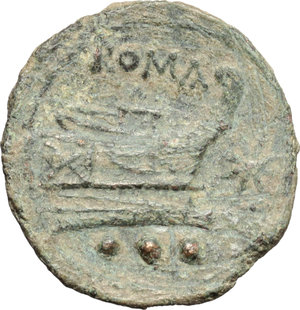 reverse: Star (first) series.  AE Quadrans, c. 206-195 BC. Obv. Head of Hercules right, wearing lion s skin; behind, three pellets. Rev. Prow right; above, ROMA; before, eight-rayed star; below, three pellets. Cr. 196/4. AE. g. 4.44  mm. 19.00  R. Rare. Green patina. VF. For a correct attribution of this issue, see NAC 61 (RBW Coll.) lots 515 and note.