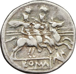 reverse: Gryphon series.  AR Denarius, c. 206-195 BC. Obv. Helmeted head of Roma right; behind, X. Rev. The Dioscuri galloping right; below,gryphon and ROMA in partial tablet. Cr. 182/1. AR. g. 3.42  mm. 19.00   Nicely toned. VF.