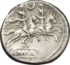 reverse: Crescent (second) series.  AR Denarius, c. 194-190 BC. Obv. Helmeted head of Roma right; behind, X. Rev. The Dioscuri galloping right; above, crescent, below, ROMA in partial tablet. Cr. 137/1. AR. g. 3.52  mm. 19.00   A very attractive example, nicely toned. About EF.