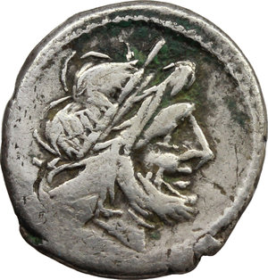 obverse: Anonymous.  AR Victoriatus, 179-170 BC. Obv. Laureate head of Jupiter right. Rev. Victory right crowning trophy; in exergue, ROMA. Cr. 166/1. AR. g. 2.64  mm. 16.00    VF.