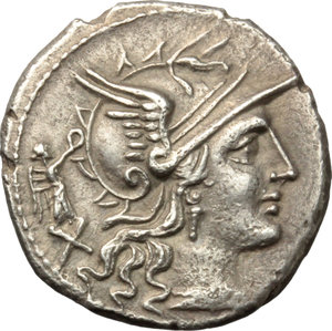 obverse: C. Terentius Lucanus.  AR Denarius, 147 BC. Obv. Helmeted head of Roma right; behind, X and small Victory. Rev. The Dioscuri galloping right; below horses, C. TER. LVC; in exergue, ROMA. Cr. 217/1. B. 10. AR. g. 3.72  mm. 18.00   Of wonderful style, from masterly engraved dies. Minor traces of corrosion on reverse, otherwise EF.