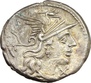 obverse: L. Cupiennius.  AR Denarius, 147 BC. Obv. Helmeted head of Roma right; behind, cornucopiae; below chin, X. Rev. Dioscuri galloping right; below, L.CVP; in exergue, ROMA. Cr. 218/1. B. 1. AR. g. 3.25  mm. 18.50    Good VF/F.