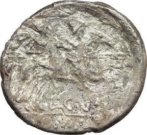 reverse: L. Cupiennius.  AR Denarius, 147 BC. Obv. Helmeted head of Roma right; behind, cornucopiae; below chin, X. Rev. Dioscuri galloping right; below, L.CVP; in exergue, ROMA. Cr. 218/1. B. 1. AR. g. 3.25  mm. 18.50    Good VF/F.
